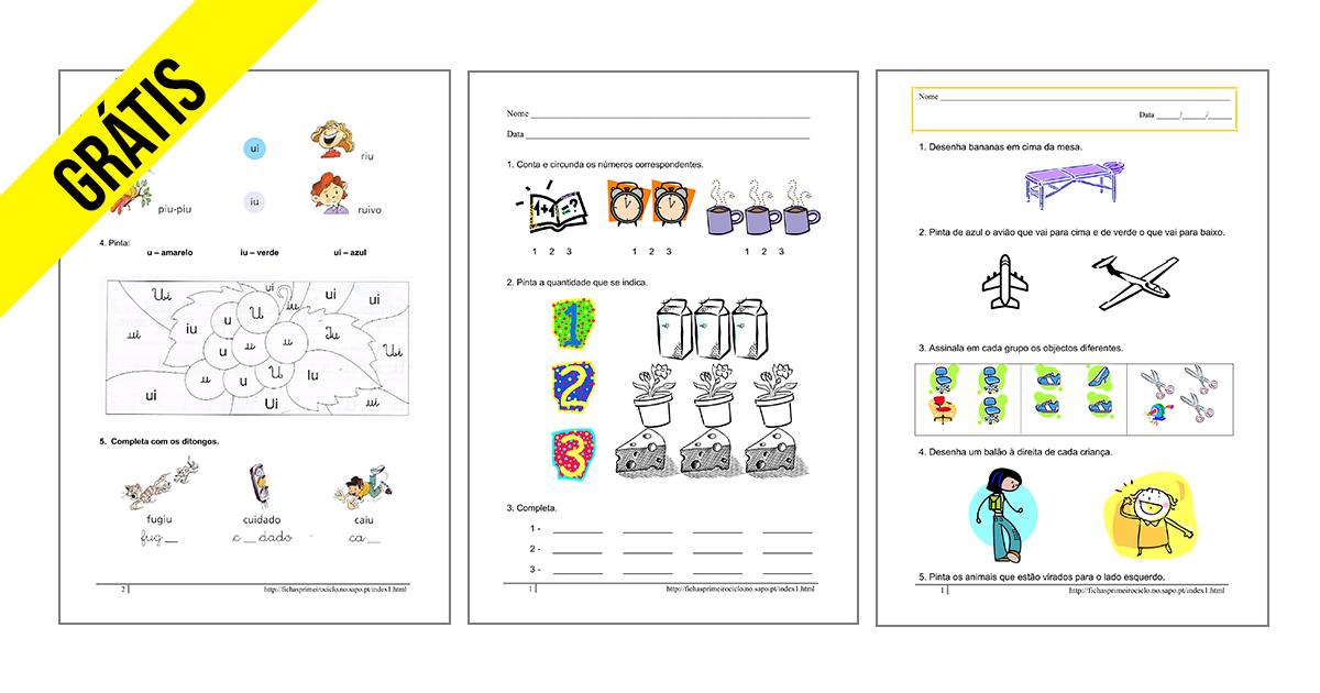 Fichas 1º ano ensino básico para download e ou imprimir