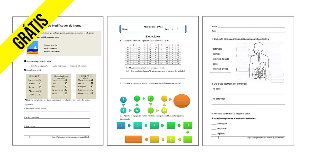 Fichas 3º ano Grátis Ensino Básico Download e Imprimir