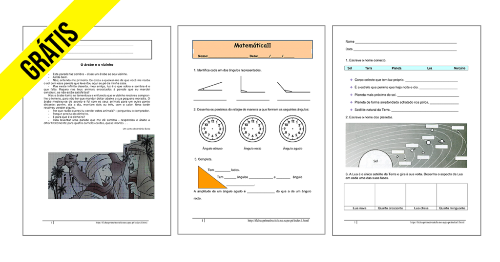 Fichas 4º ano Ensino Básico Download Imprimir