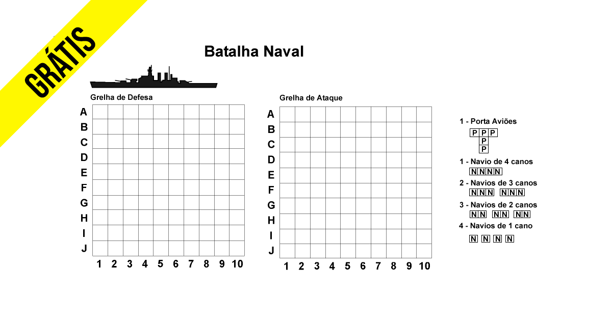 Batalha Naval Para Imprimir Grátis