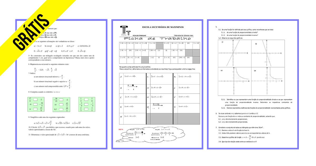 Fichas Matemática 9ºano
