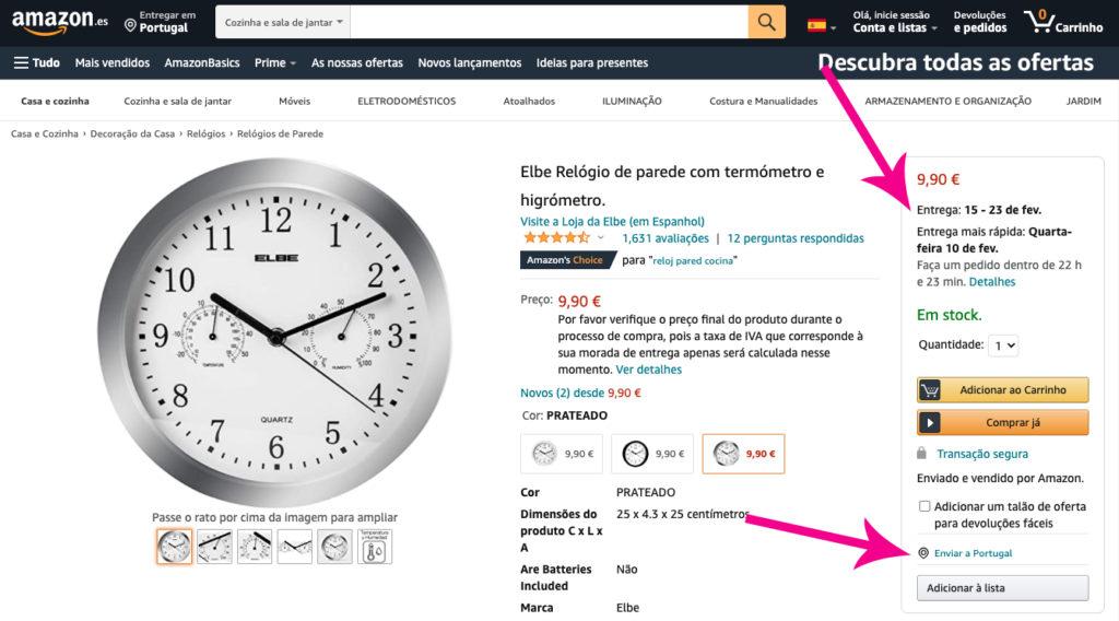 Envios grátis Amazon Portugal